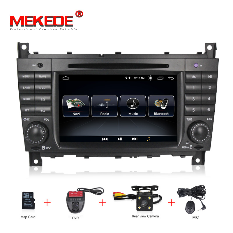 цена на 7HD 1024x600 Quad core Car DVD Android 8.1 for Mercedes/Benz C Class W203 c200 C230 C240 C320 C350 CLK W209 GPS Radio WiFi