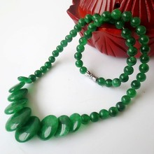 Natural green jade wafer natural jade necklace cool statement necklace accessories beads necklaces for women