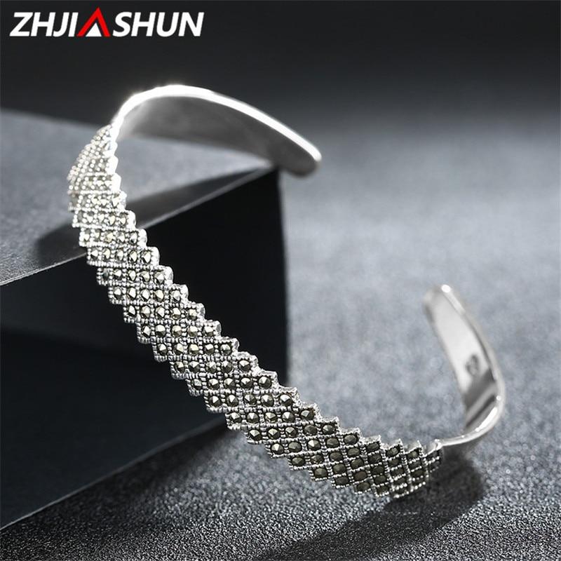 ZHJIASHUN Retro 925 Silver Bangles for Women Cuff Bracelets Vintage 925 Sterling Silver Marcasite Jewelry zhjiashun genuine 100