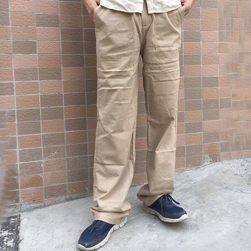 CALOFE Neue Top Qualität Natürliche Baumwolle Leinen herren Sommer Casual Hosen Weiche Hose Weiß Leinen Elastische Taille Gerade Männer hosen