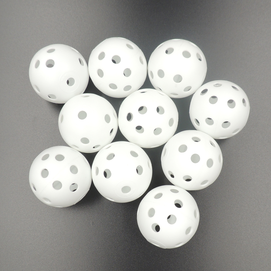 High Quality 10Pcs White Whiffle Airflow Hollow Plastic Golf Balls Practice Tennis Golf Balls Training Sports Golf Accessories