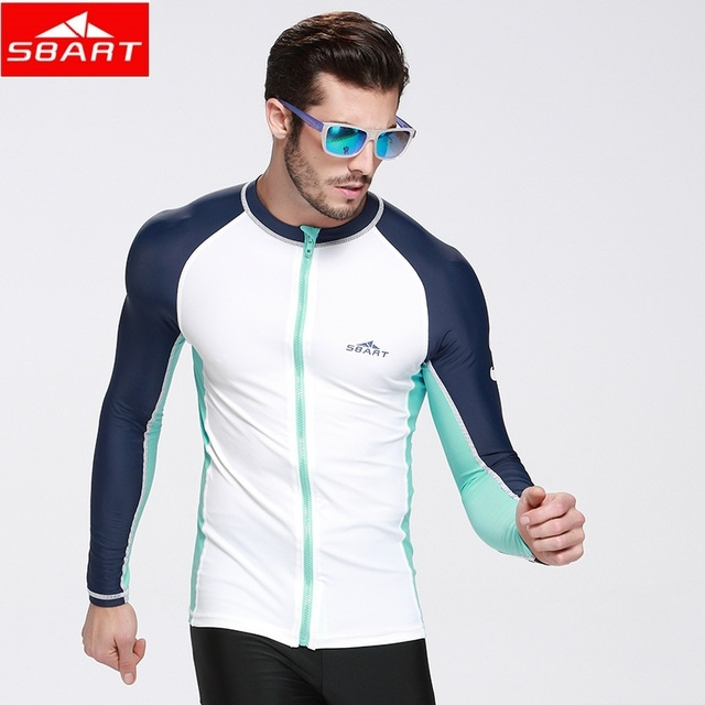 5a92ea99b2c SBART upf 50 Swim Rash Guard Men Long Sleeve Swim Shirts Anti UV Rashguard  Tops Zipper Plus Size Men Rashguard Jacket