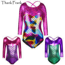 Girls Metallic Gymnastics Leotard Kids Shiny Long Sleeve Ballet Leotards Tolddler Children Adorable Mermaid Costumes TF1012