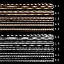 50/100 см 0,8-2,0 мм Золотая Серебряная черная цепочка для ногтей Falt модная металлическая Крошечная цепочка Типсы для украшения ногтей Diy ювелирные аксессуары