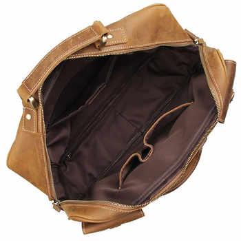Nesitu Large Big Vintage Brown Thick Genuine Crazy Horse Leather Men Travel Bags Male Briefcase Shoulder Messenger Bags M7028