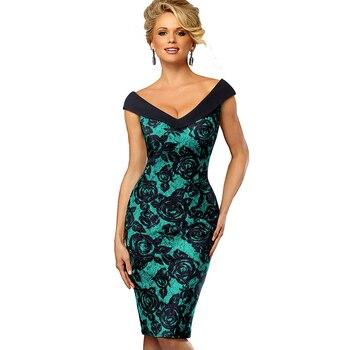 Women Elegant V Neck Pencil Dress