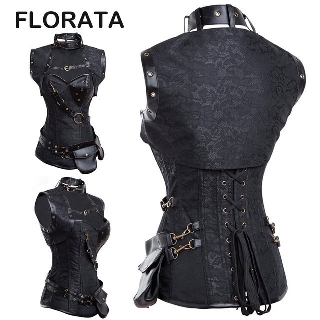 FLORATA Women Gothic Clothing Sexy Black Steel Bone Corset Steampunk Waist  Corsets And Bustiers Top