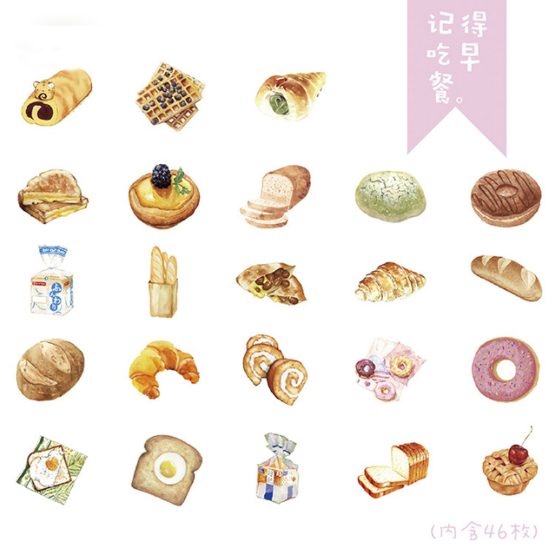 Купить с кэшбэком 46pcs/box Remember to eat breakfast creative sticker diy hand gift bag sealing decoration adhesive tape Diary stationery sticker