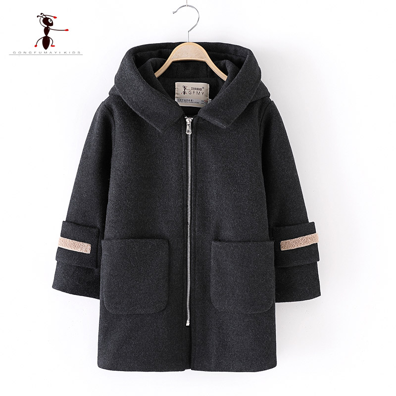 2018 Kung Fu Ant Brand High Quality Winter Fashion Hooded Letter Children Woolen Coat ZipperBig pocket Kids Boy Woolen Coat 9013