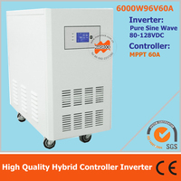 High Quality UPS contained 6000W 96V off grid pure sine wave inverter with 60A MPPT controller , hybrid MPPT controller inverter