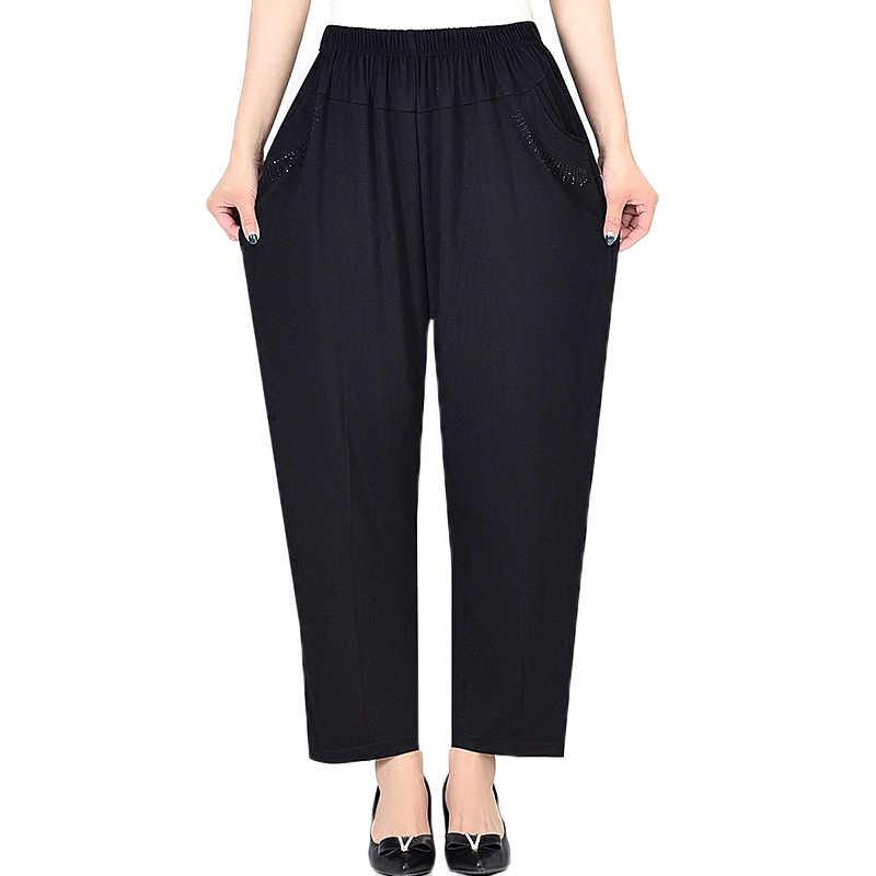 Ekstra büyük boy kadın pantolon ilkbahar sonbahar gevşek yüksek elastik pantolon orta yaşlı giyim 6XL 7XL 8XL kış pantolonları kadın