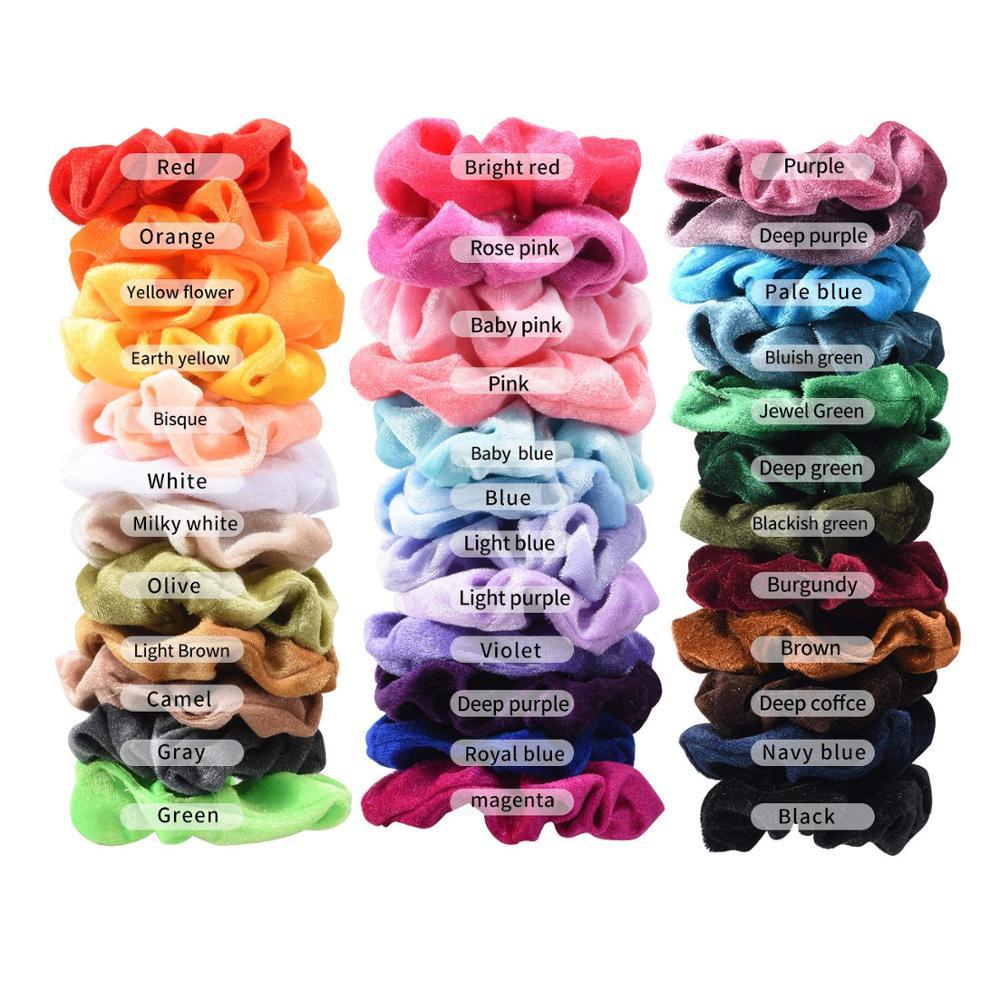 36 pièces Cheveux Chouchous Velours Élastique Bandes De Cheveux Chouchou Cravates Cordes Scrunchie pour Femmes ou Filles Accessoires