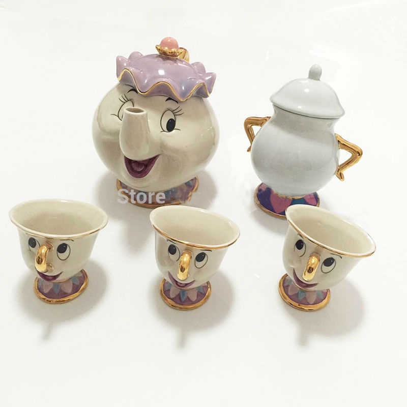 Hot Sale New Cartoon Beauty And The Beast Teapot Mug Mrs Potts Chip Tea Pot Cup 2PCS One Set Lovely Nice Gift Free Shipping