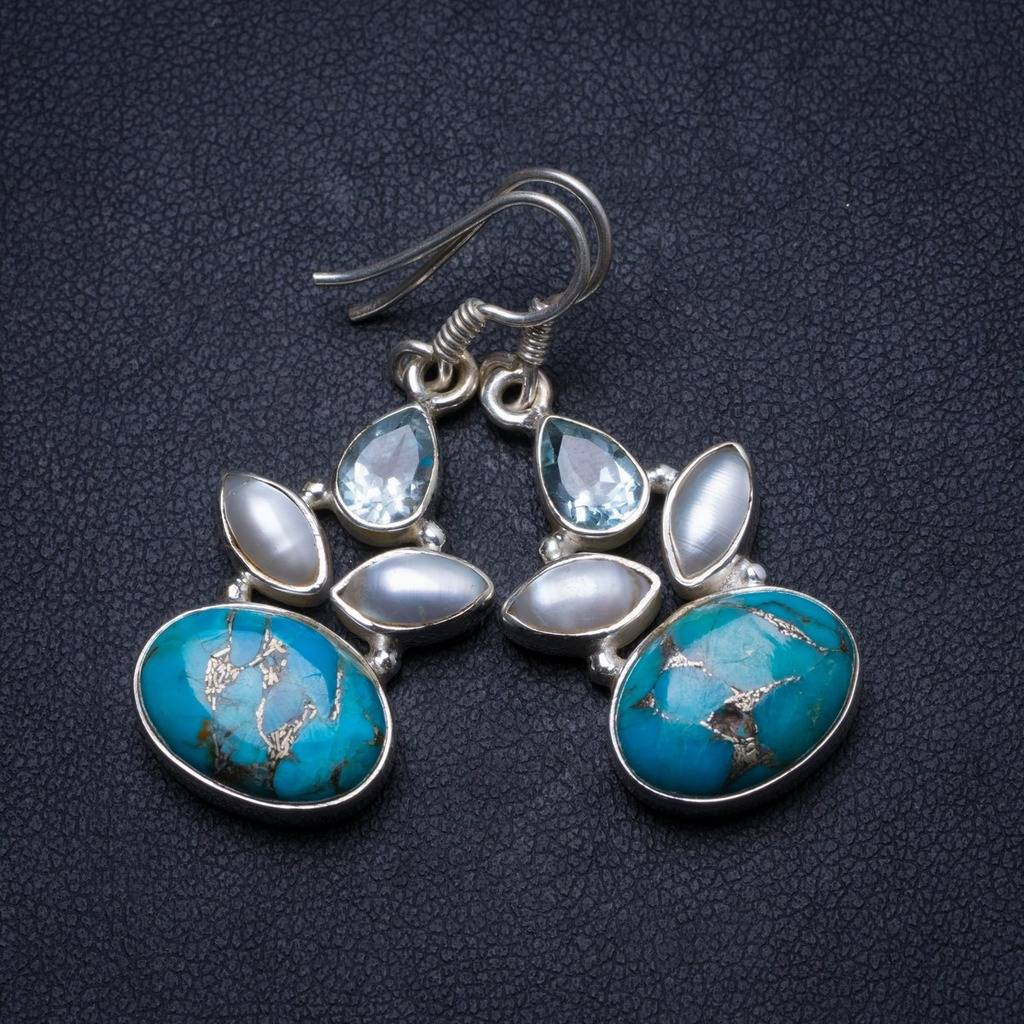 Natural Turquoise,Blue Topaz River Pearl Handmade Unique 925 Sterling Silver Earrings 1.5 X3374 соус паста pearl river bridge hoisin sauce хойсин 260 мл