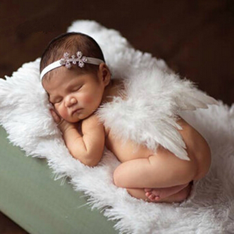 Newborn photography props girls white angel feather wings wing set costume snow flower headbands photo prop set in hair accessories from mother kids on