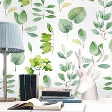 Tuya Art Custom simple gree leaves wall mural for living room study room sofa background children room free shipping