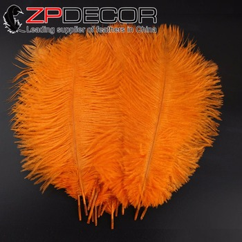 ZPDECOR 100pcs/lot 30-35cm(12-14inch)Hand Fluffy and Smooth Bleached Orange Ostrich Feathers for Wedding Decoration Feathers