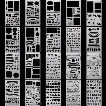 20Pcs/set Stencil Plastic Stencils Journal/Notebook/Diary/Scrapbook Hollow DIY School Stationery Office Supplies