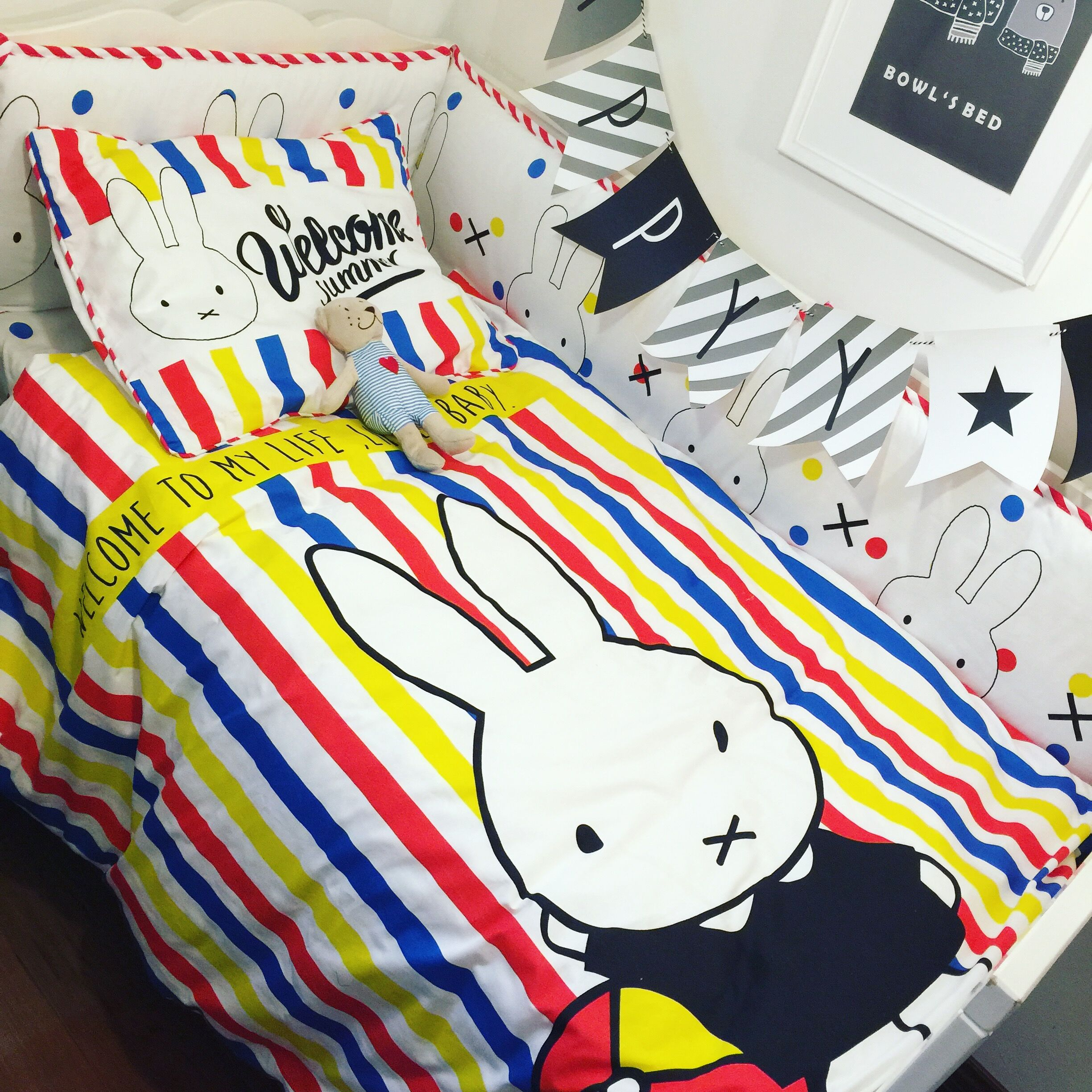 Nordic Baby Bed Set 100% Cotton Color Cartoon Rabbit Baby Bumper Bed Around Quilt Cover Bed Sheet Pillow Case Baby Bedding