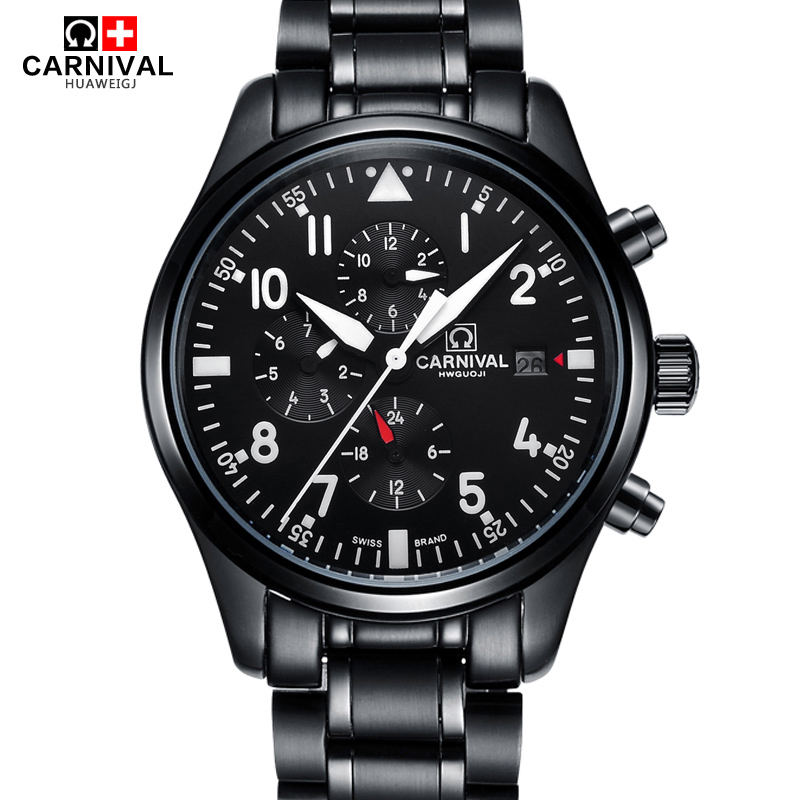 CARNIVAL High Quality Sport watch 100m waterproof Swimming Automatic Watch Men 24 hours Calendar HD Luminous Mechanical watches