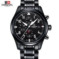 CARNIVAL reloj deportivo de alta calidad 100m impermeable natación reloj automático hombres 24 horas calendario HD relojes mecánicos luminosos
