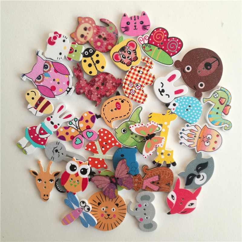 50pc Mixed Animals 2Hole Wooden Buttons for Decoration