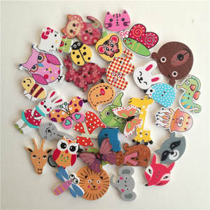 Wooden-Buttons Button-Decoration Clothing Crafts Scrapbooking Sewing-Accessories Mixed-Animals