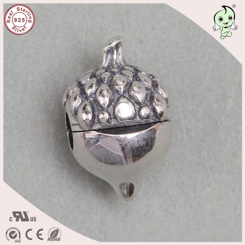 DIY Hot Sale 100% 925 Geniune Silver Pine Cone Clip Ball Charm Fitting Famous Bracelet