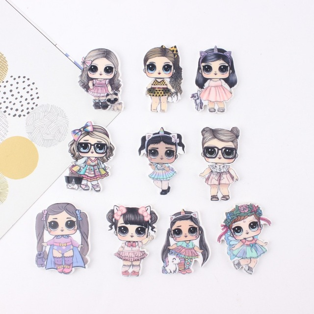 Cute Acrylic Charms Skirt Girl Big Eye Doll Charms For SLIME Jewelry Making 10Pcs Mixed