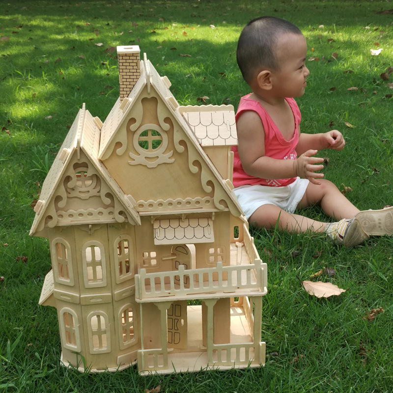 Wooden DIY Dollhouse Mini 3D Stereo Puzzle House Assembled Miniature Doll House Educational Girls Pretend Play Toys For Children