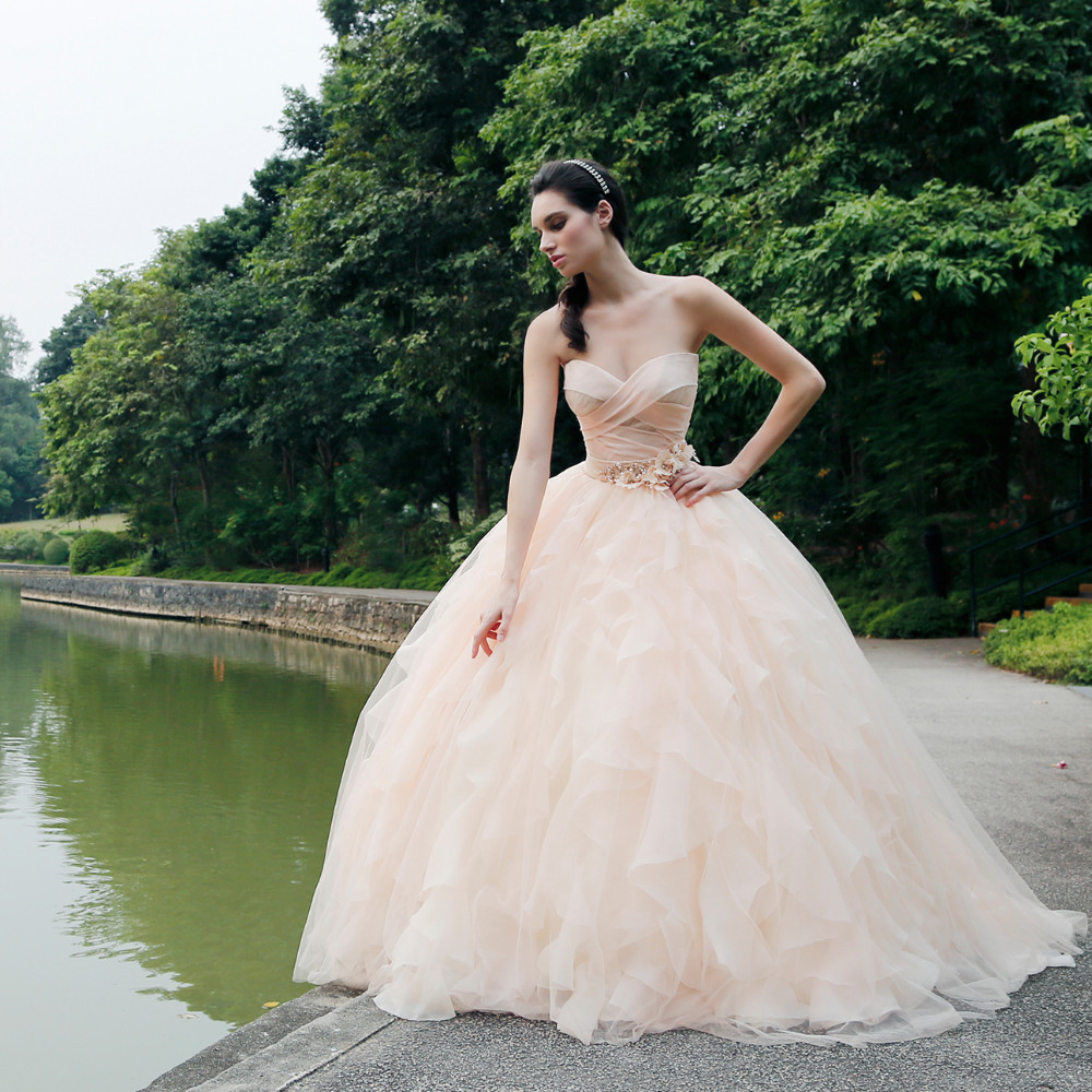 Pretty Simple Peach Color Bridal Dresses Appliques Long Brides Gowns Romantic Tulle Wedding Sweetheart Lace Up 2016: Pritty Dresses Peach Wedding At Reisefeber.org