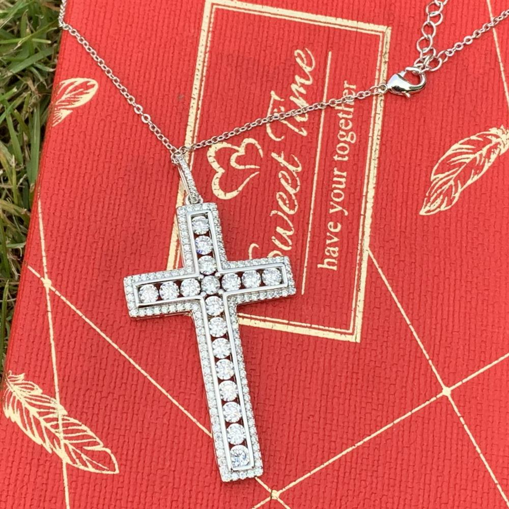 Hip Hop Top Brand new Luxury Jewelry 925 Sterling Silver Full 5A Cubic Zirconia CZ Cross Pendant Women Wedding Necklace Gift