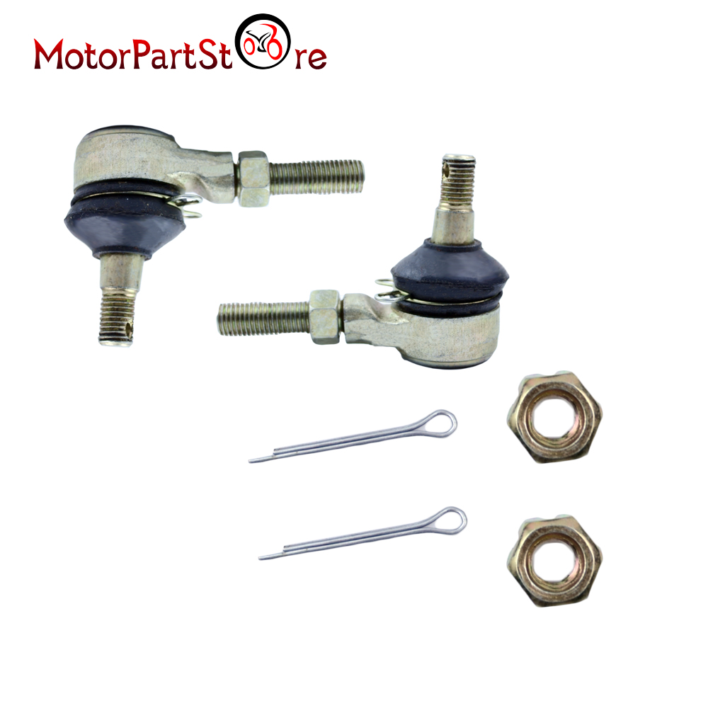 M10 Left And Right Tie Rod End Set W/ Nuts And Pins For ATV Quad Go Kart 150cc 250cc Kinroad Runmaster SUNL Roketa Buggy Bike
