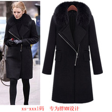 2016 Autumn and Winter New Fashion Women's Black Jackets S-XXXL Plus Size Long Zipper Coat Outwear with Fur Collar Wool Overcoat