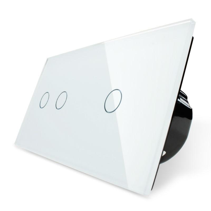 Livolo Commutateur Tactile, 2 Gang Gauche + 1 Gang Droit Blanc Panneau Verre Cristal, mur Interrupteur + LED Indicateur
