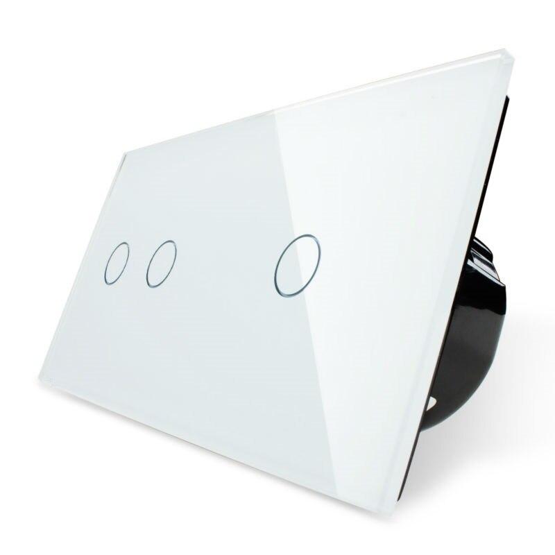 Livolo interrupteur tactile, 2 Gang gauche + 1 Gang droit panneau en verre cristal blanc, interrupteur mural + indicateur LED