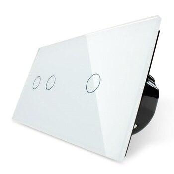 Interruptor táctil 2019, 2 bandas izquierda + 1 banda derecha cristal blanco Panel, interruptor de luz de pared + indicador LED