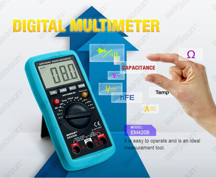 All-Sun EM420B Digital Multimeter Diode Transistor Battery Tester AC/DC Ammeter Voltmeter Ohm Voltage Meter
