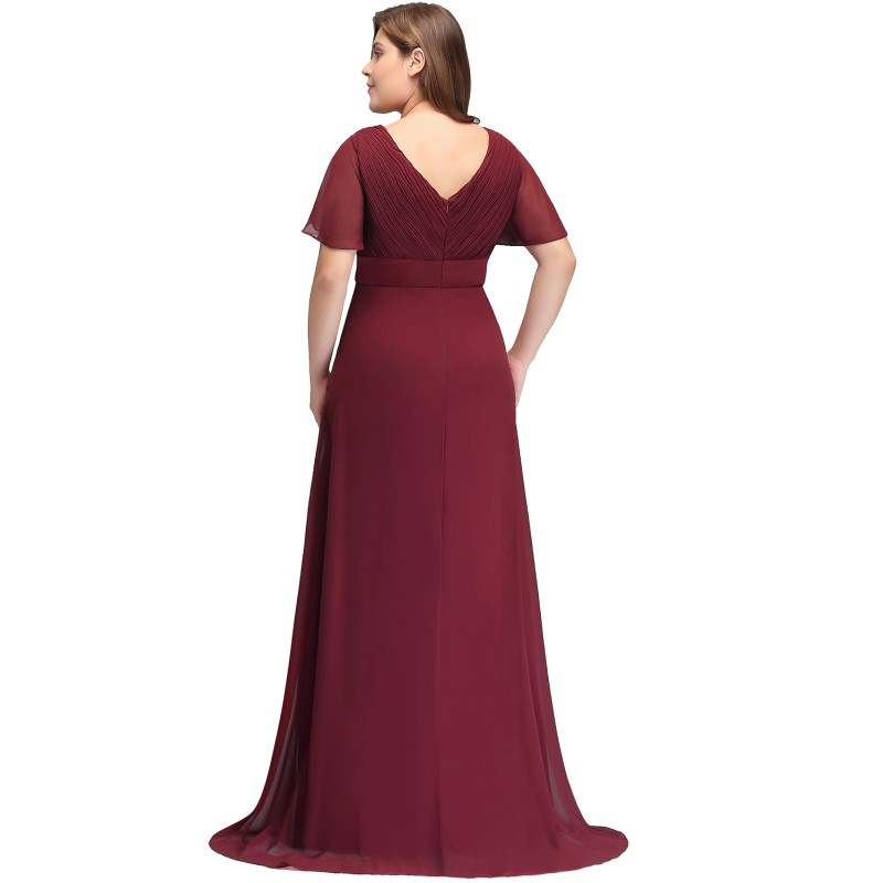 2019 Chiffon Mermaid Plus Size Long Prom Dresses V Neck Short Sleeve Gown vestidos de gala in Prom Dresses from Weddings Events