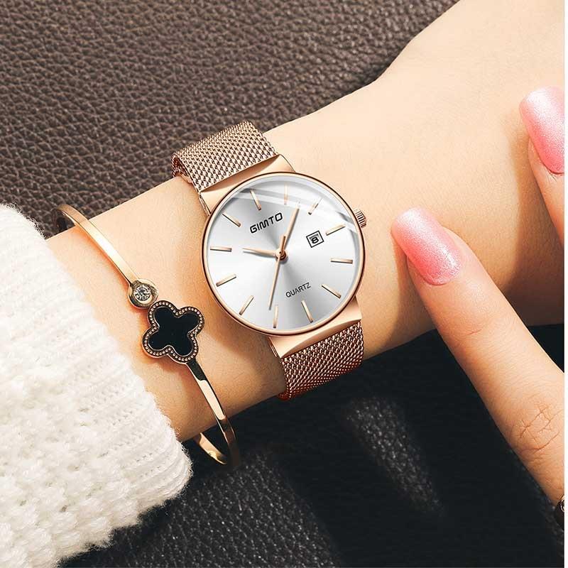 Rose Gold Fashion Quartz Bracelet Lovers Ladies Watch Luxury Female Clock GIMTO Brand Women Watches Relogio Feminino