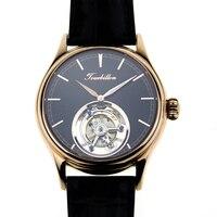 שחף Tourbillon Mens HandWind שעון יד Sugess יוקרה עסקי רוז זהב מצופה