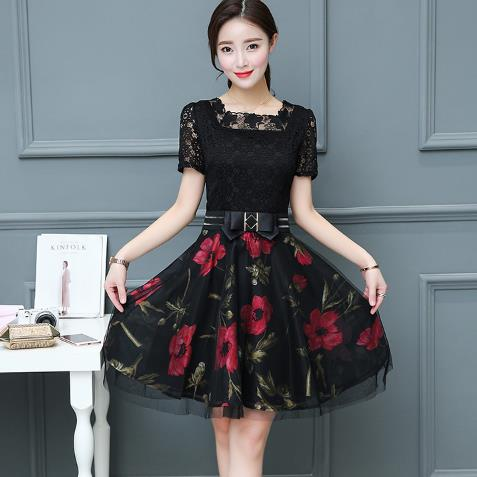 Clobee 2019 Lace A Line Print Flower Women Dress Elegant Sashes Korean  Style Ladies Dresses Work Party Femme Vestidos Z523 e9adbfb73be8