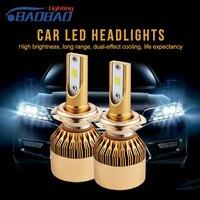 BAOBAO 2pcs Led Car Headlight H4 55w 6000lm Hi Low Light Bulb H7 H11 9005 9006