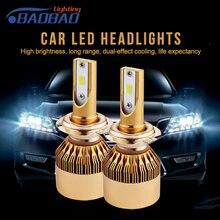 BAOBAO 2pcs Led Car Headlight H4 55w 6000lm Hi/Low Light Bulb H7/H11/9005/9006 12V 6000K IP68 Waterproof R8 Automobile Headlamp