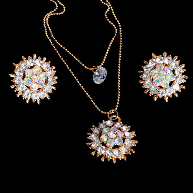 Exquisite Full CZ Crystal Pendants Necklace Earrings Sets 2 Layer Gold Color Jew