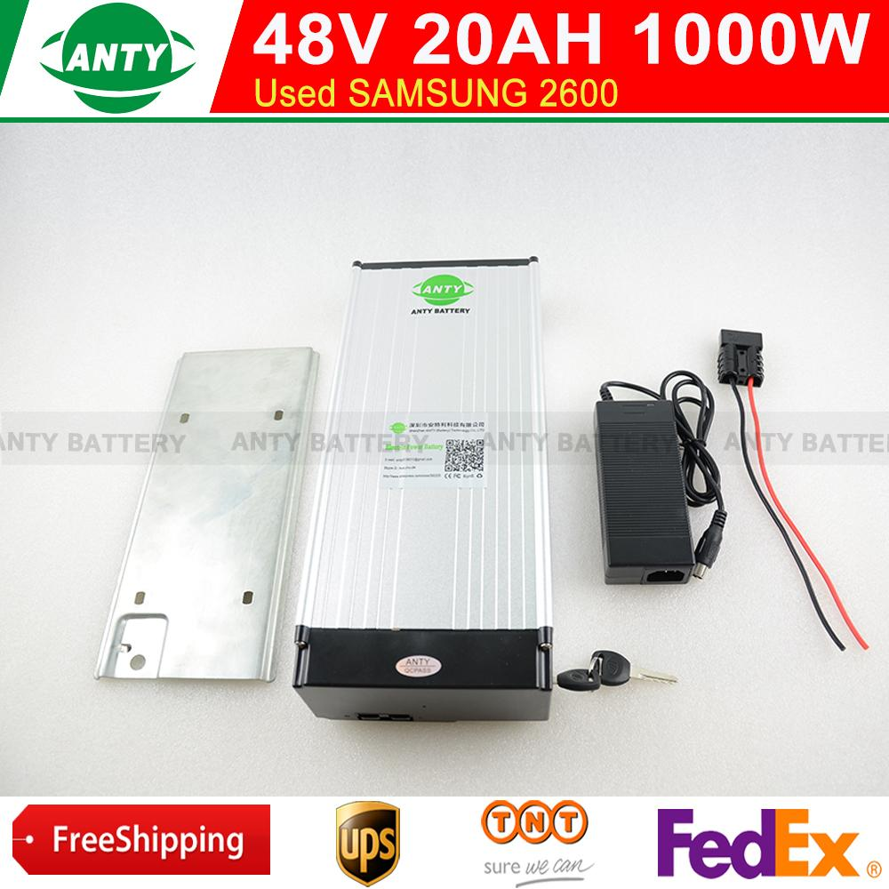 Free Shipping 48v 20Ah 1000W eBike Battery Pack with 2A Charger,30A BMS Lithium Bicycle Battery 48v Electric Scooter Battery free customs taxes ebike battery 48v 40ah 2000w electric bicycle lithium battery pack with charger and 50a bms