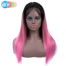 bd46a449b8 BY Pre-colored 4x4 Closure Lace Wigs OT Rose Pink Lace Front Human Hair  Wigs Non Remy Brazilian Straight Hair Wig With Baby Hair