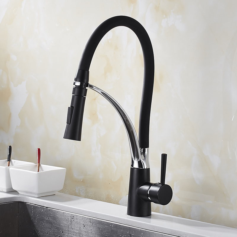 Black Pull Down Kitchen Sink Faucet Deck Mount Pull Out Dual Sprayer Nozzle Hot and Cold kitchen faucet preminum black brass single handle pull out sprayer kitchen sink cold hot mixing faucet pull down pull out kitchen faucet