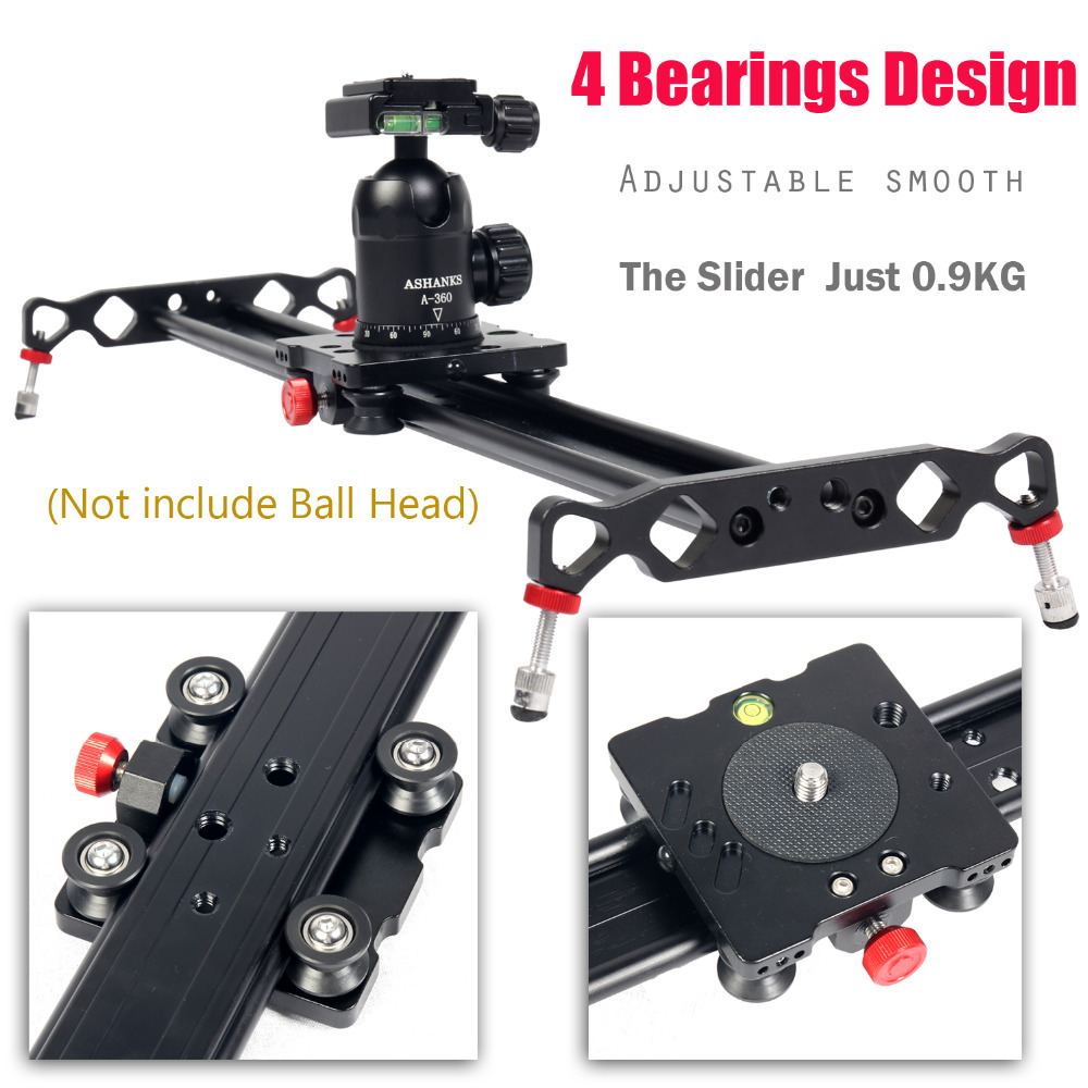 Ashanks 60cm Camera Track Slider 4 Bearings Rail Slide Aluminum Alloy Photography DV Studio Stabilizer For DSLR Video Camcorder ashanks 60cm 6 bearings carbon fiber dslr camera dv slider track video stabilizer rail track slider for dslr or camcorder