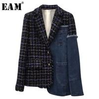[EAM] 2019 New Spring Lapel Long Sleeve Blue Denim Plaid Stitch Irregular Loose Jacket Women Coat Fashion Tide JI747